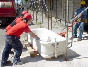 Apprentices Moving Tub at Hotel Lafayette