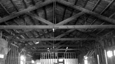 Interior, Roof Trusses in Place
